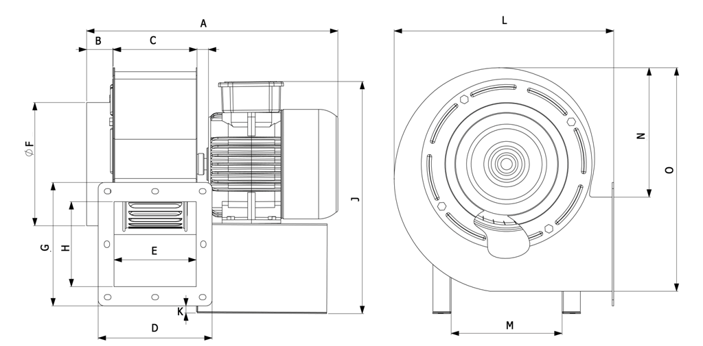 габаритные размеры центробежного вентилятора Габаритные размеры Bahcivan OBR 200 M2-K (Пылевой)